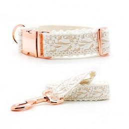 Set of Collar & leash 'Wedding' - size S