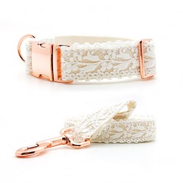 Set of Collar & leash 'Wedding' - size L