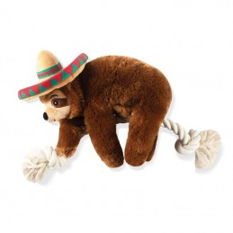 PetShop by Fringe Studio - Sombrero Sloth on a rope | Wholesale Dog Toys